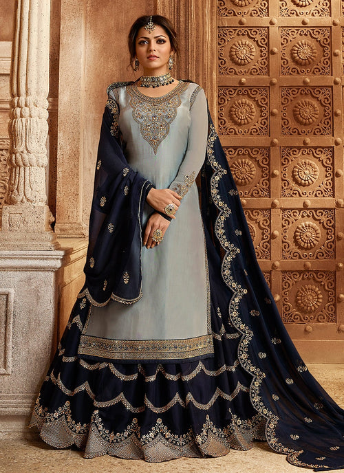 Grey And Navy Blue Dual Bottom Lehenga/Pant Kurti Set