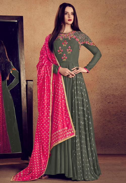 Grey And Pink Embellished Anarkali Suit