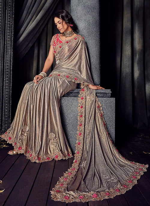 Grey And Pink Floral Motifs Embroidered Designer Saree
