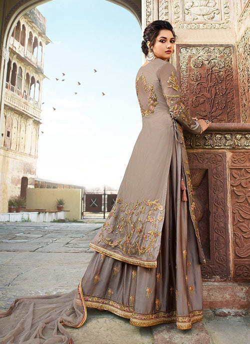 Grey And Silver Embellished Lehenga/Palazzo Suit