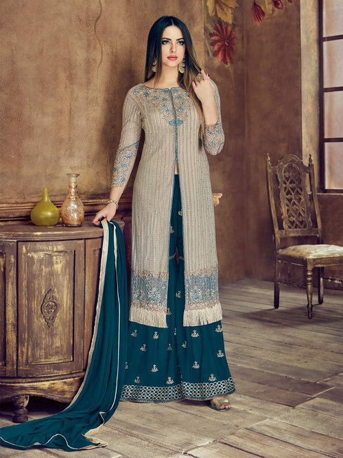 Grey And Turquoise Embroidered Flared Palazzo Suit