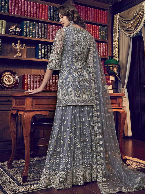 Grey Designer Embroidered Pakistani Gharara Suit