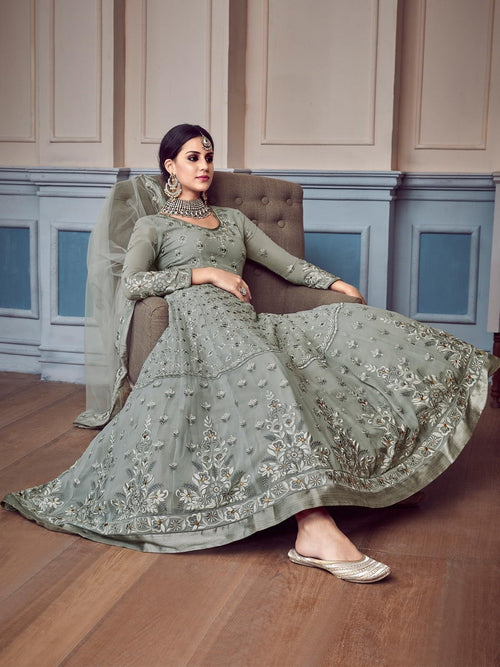 Grey Glam Chikankari Embroidered Anarkali Suit