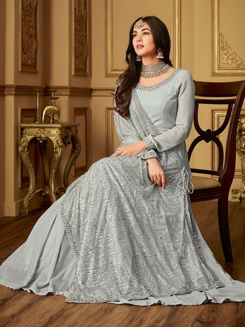 Grey Glammed Minimalist Embroidered Flared Anarkali Suit
