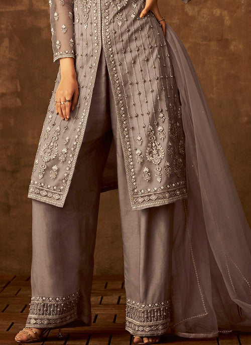 Grey Traditional Embroidered Palazzo Pant Suit