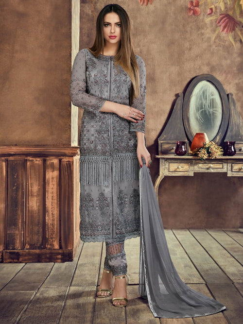 Grey Minimalist Embroidered Pant Suit
