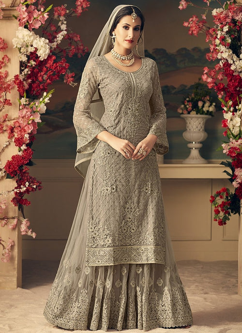 Grey Glam With Multi Embroidery Flared Sharara Suit