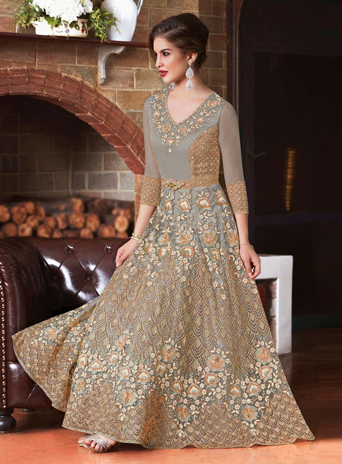 Grey Glam Embroidered Flared Anarkali Suit