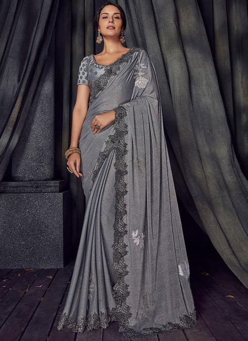 Grey Glam Overall Pearl Embroidered Designer Saree