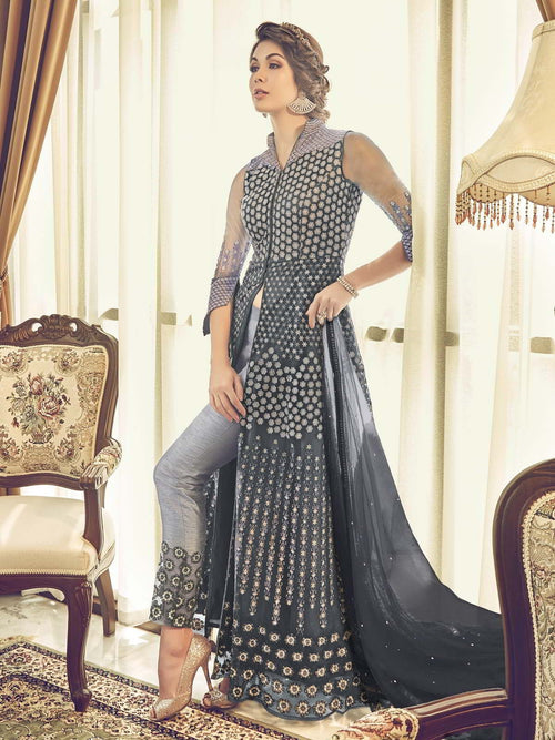 Grey Heavily Embroidered Stylish Anarkali Pant Suit