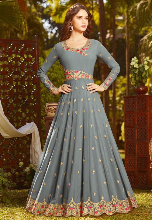 Grey With Multi Embroidered Georgette Anarkali Suit