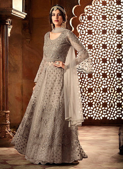 Grey Net And Satin Embroidered Lehenga Kurti Set