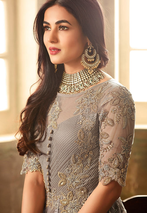 Grey Overall Net Embroidered Anarkali Suit