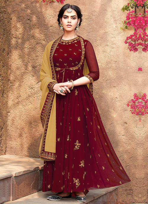 Indian Clothes - Maroon Embroidered Koti Style Anarkali Suit