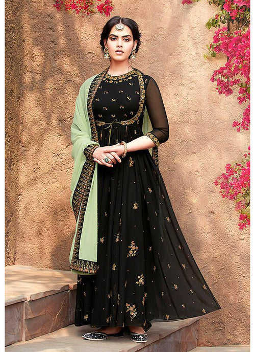 Indian Clothes - Black Embroidered Koti Style Anarkali Suit