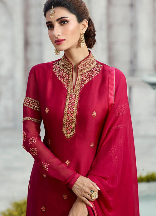 Hot Pink Embroidered Georgette Palazzo Suit