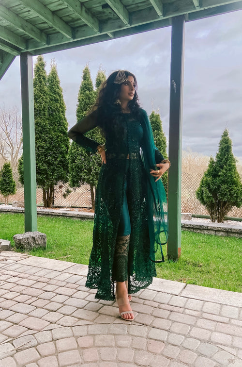 Dark Green Motif Embroidered Jacket Style Anarkali Pant