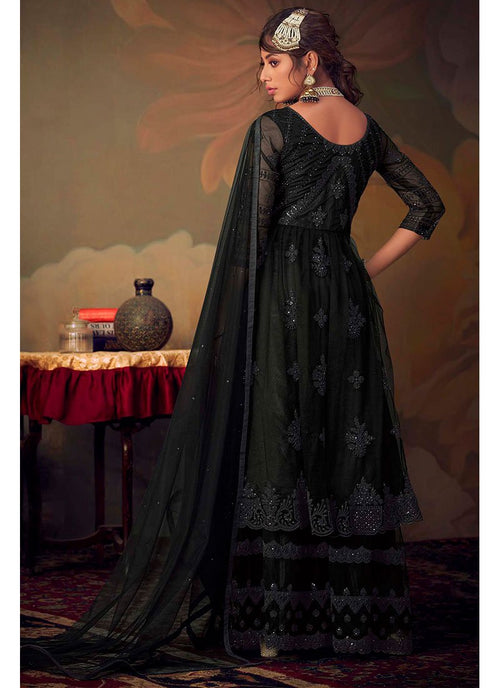 Indian Suits - Black Anarkali Gharara Suit In usa uk canada