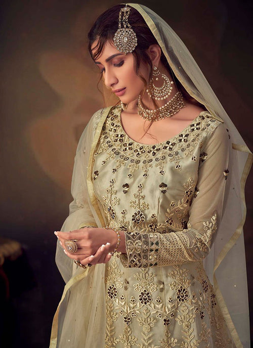 Indian Suits - Beige Anarkali Gharara Suit In usa uk canada