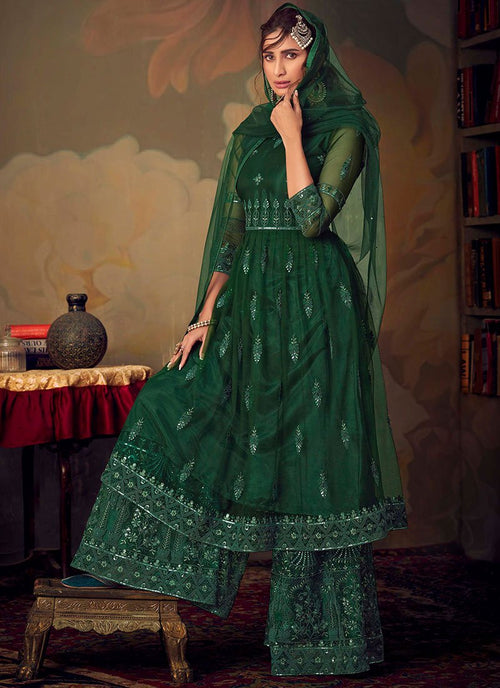 Dark Green Designer Anarkali Gharara Suit
