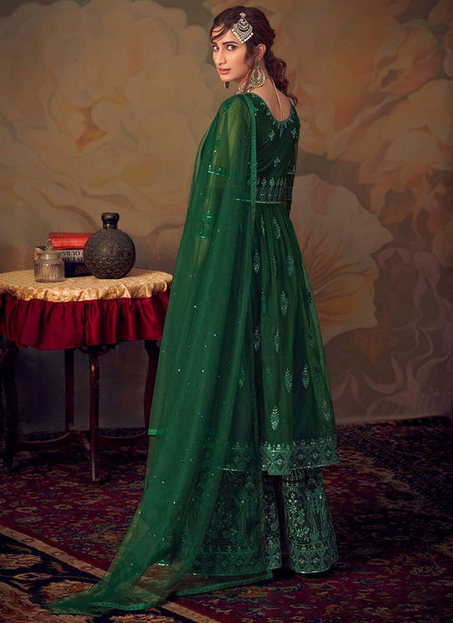 Indian Clothes - Dark Green Anarkali Gharara Suit In usa