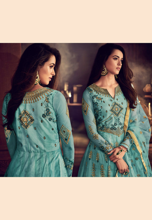 Light Blue Traditional Embroidered Anarkali Suit