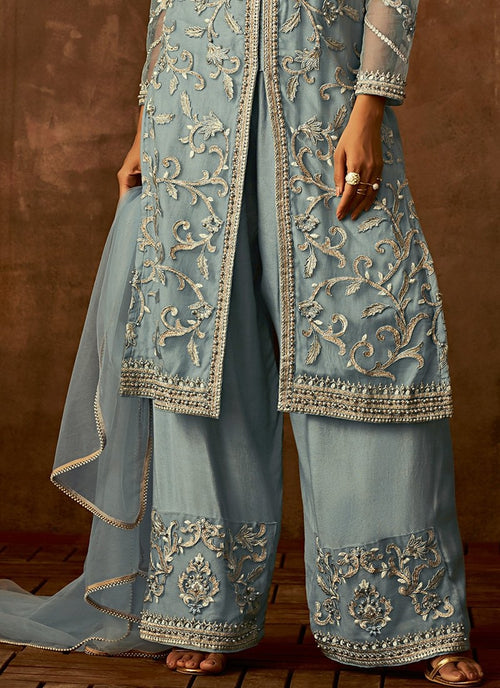 Light Blue Traditional Embroidered Palazzo Pant Suit