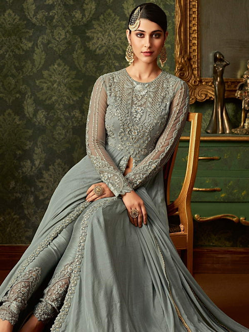 Light Blue Front Slit Embroidered Anarkali Pant Suit