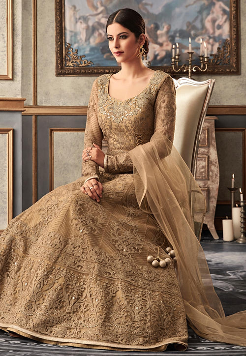 Light Brown Embroidered Flared Anarkali Gown Set