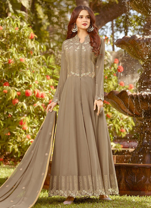 Light Brown Golden Embroidered Slit Style Anarkali Suit