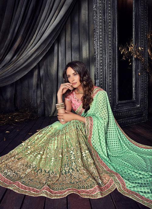 Light Green And Pink Zari Embroidered Designer Saree