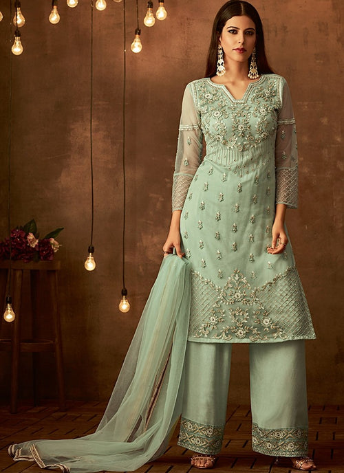 Light Green Traditional Embroidered Palazzo Pant Suit