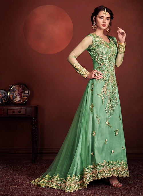 Light Green Fully Embroidered Anarkali Suit