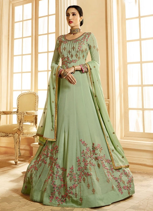 Light Green Ethnic Multi Embroidered Flared Anarkali Suit
