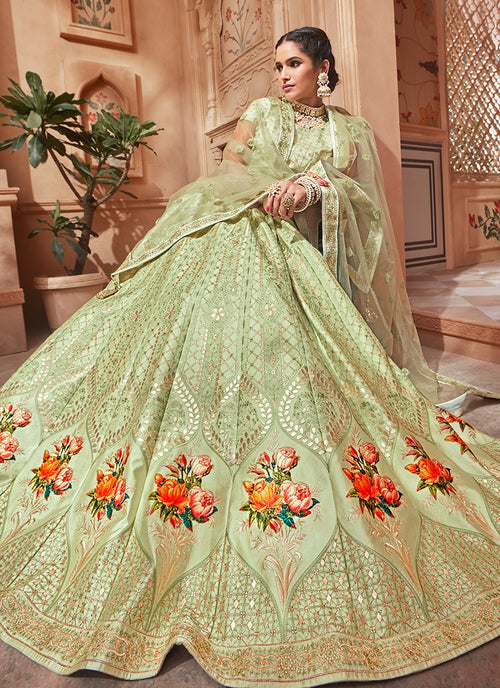 Light Green With Butta Embroidered Flared Lehenga Choli Set