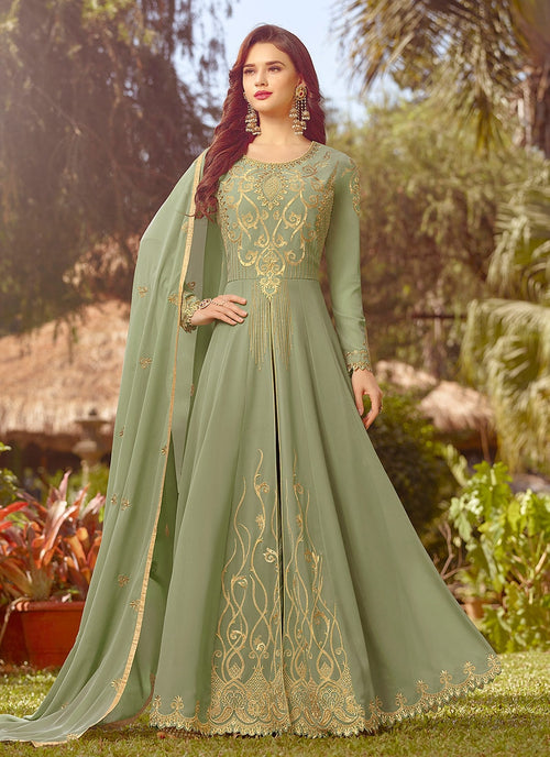 Light Green Golden Embroidered Slit Style Anarkali Suit