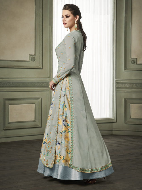 Light Green Layered Embroidered Anarkali Suit