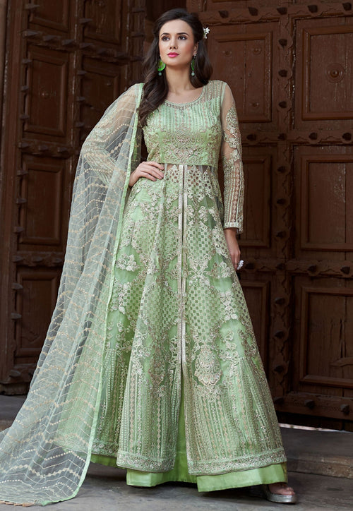 Light Green Embroidered Net Anarkali Lehenga Kurti Set