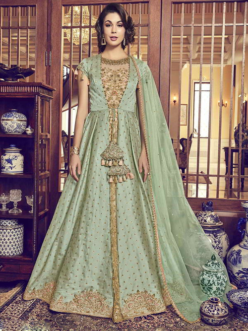 Light Green Overcoat Style Embroidered Anarkali Suit
