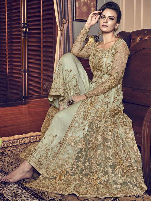 Light Green Embroidered Wedding Anarkali Lehenga/Pant Suit