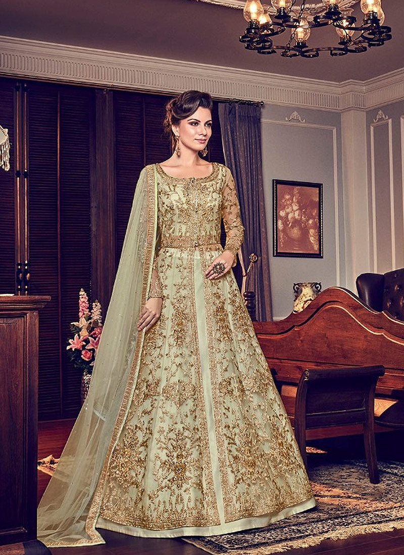 Wedding Pant Suits.Light Green Embroidered Wedding Anarkali Lehenga Pant Suit