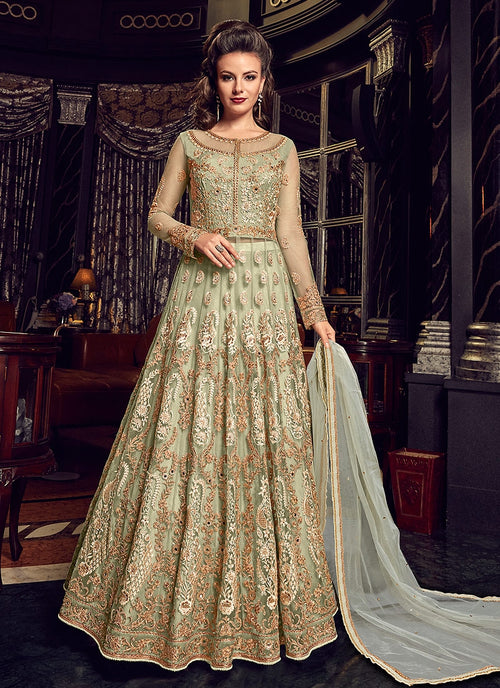 Light Green With Gold Embroidered Lehenga/Pant Suit