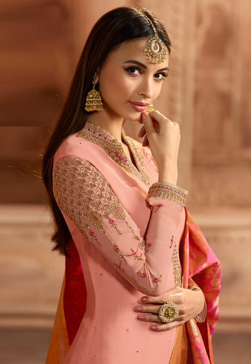Pink Dual Tone Embroidered Satin Churidar Suit