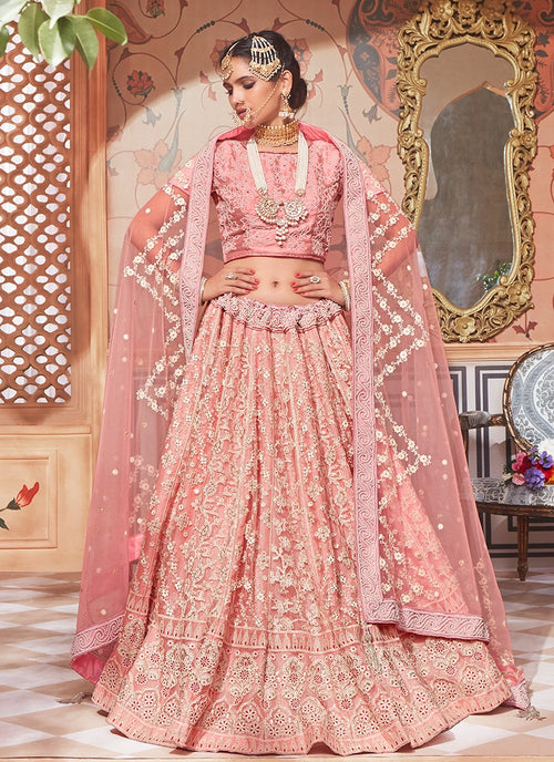 Light Pink Overall Embroidered Flared Lehenga Choli Set