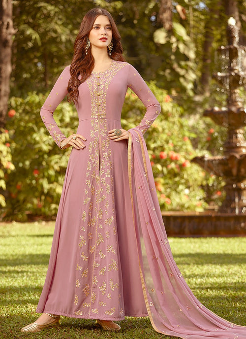 Light Pink Golden Embroidered Slit Style Anarkali Suit