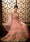 Light Pink Embroidered Net Anarkali Pant Suit