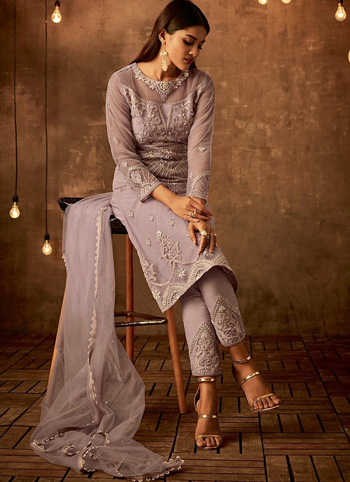 Light Purple Traditional Embroidered Palazzo Pant Suit