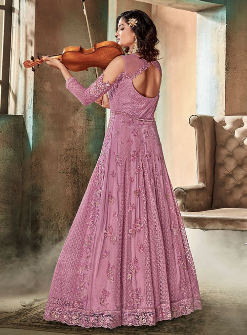 Light Purple Traditional Embroidered Flared Anarkali Suit