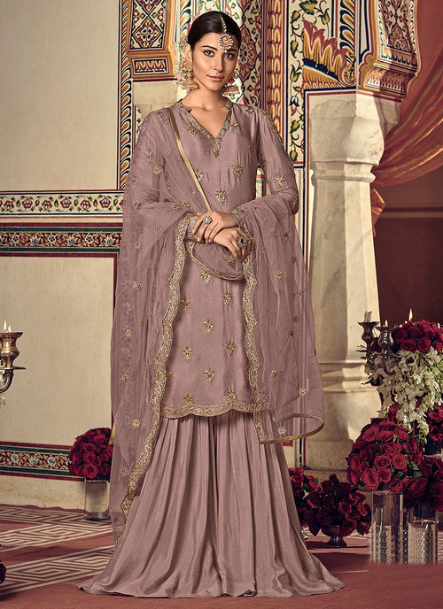 Light Purple Embellished Gharara Palazzo Suit