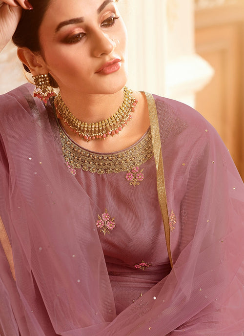 Light Purple With Golden Touch Embroidered Gharara Suit